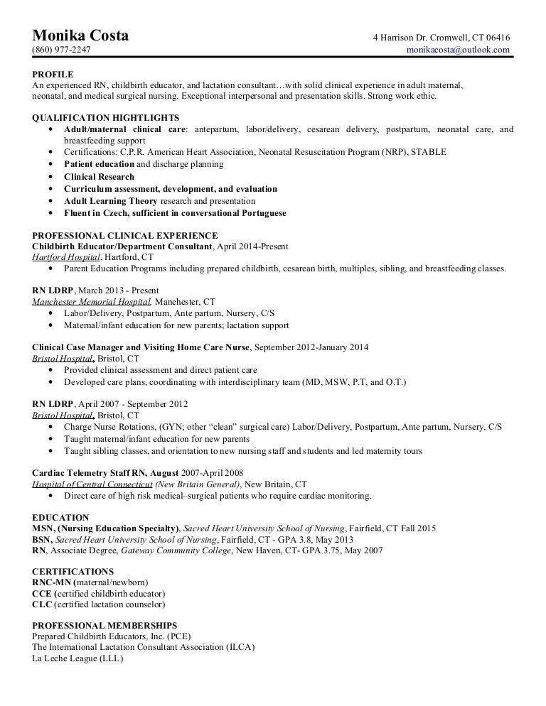 Certified Lactation Consultant Sample Resume. 3 Skills ...
