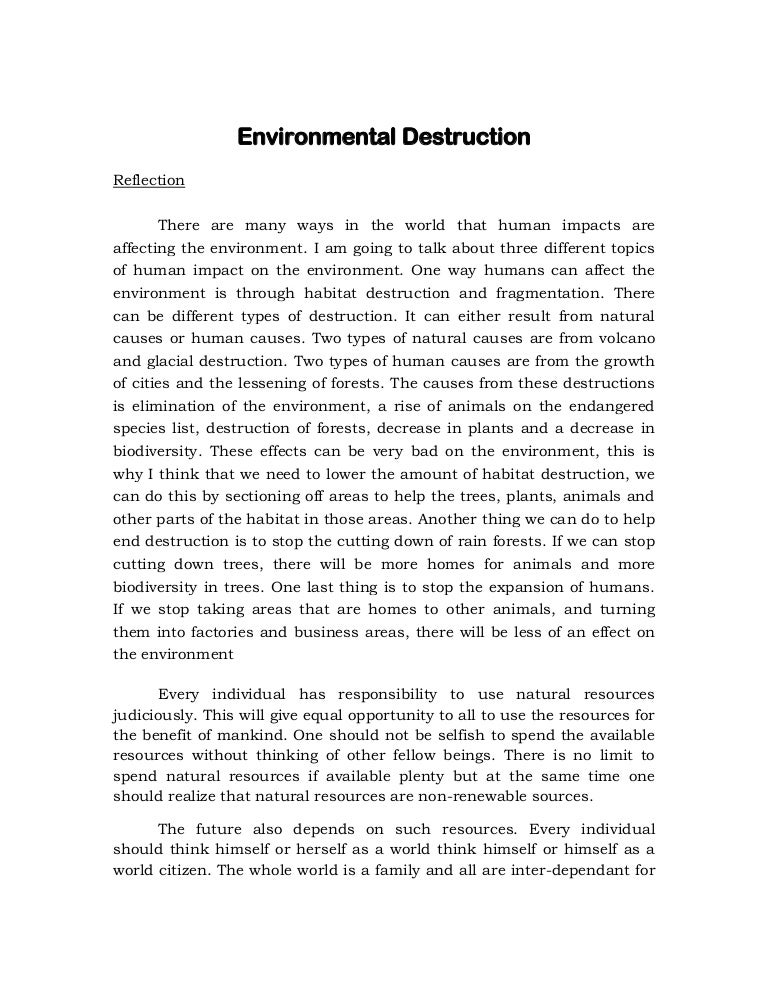 Persuasive Essay Sample High School  High School Reflective Essay Examples also Thesis Statement In A Narrative Essay Reflection About Environmental Destruction English Composition Essay Examples