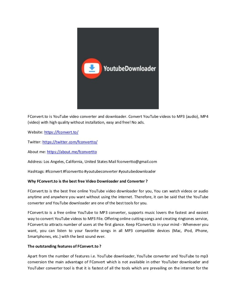 Fconvert Free Youtube Converter Downloader Convert To Mp3 Mp4
