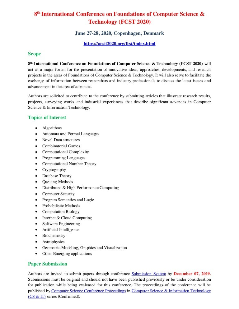 8th International Conference On Foundations Of Computer Science Tec