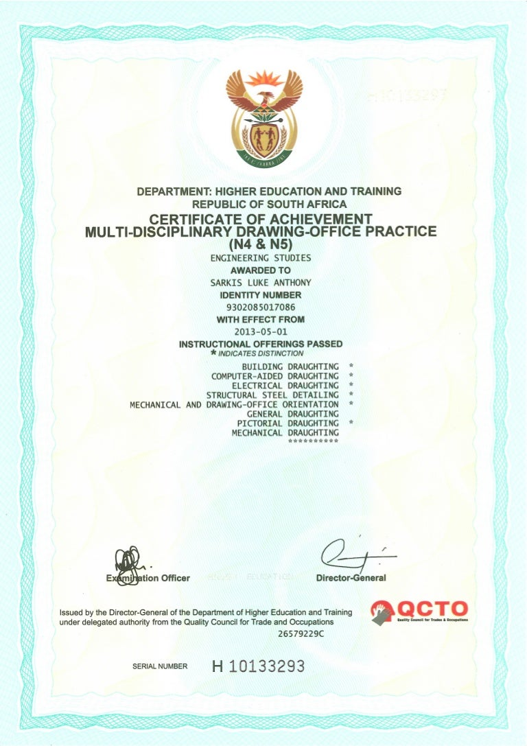 Certificate Of Achievement Multi Disciplinary Drawing
