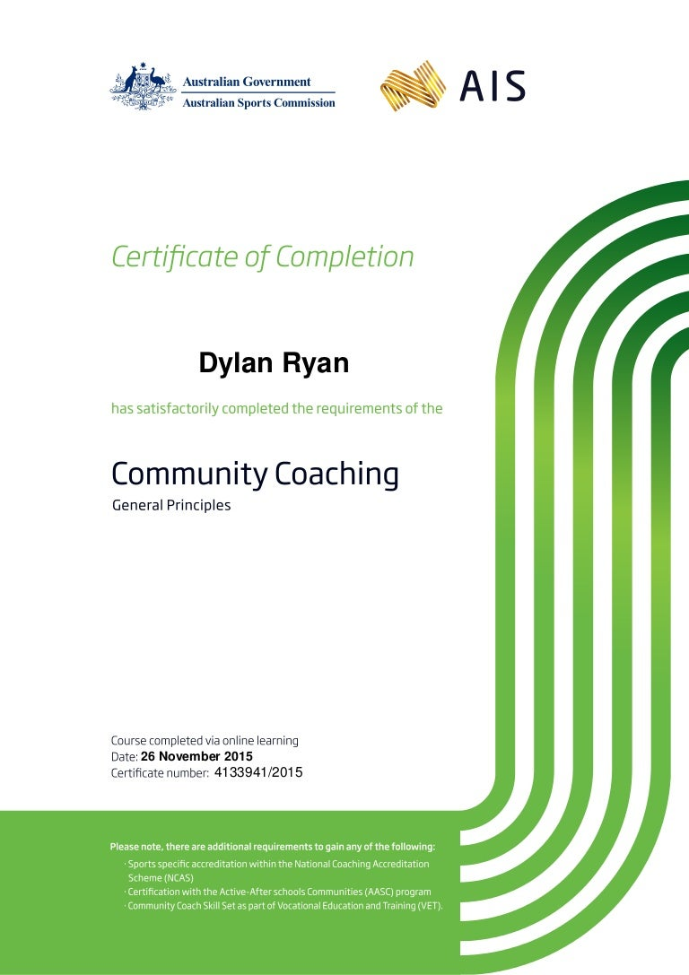 Certificate for dylan ryan in community coaching general principles xflitez Choice Image