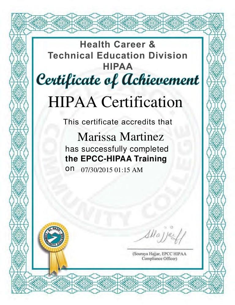 HIPAA Certificate
