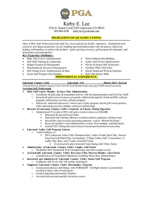 pga sample resume gm