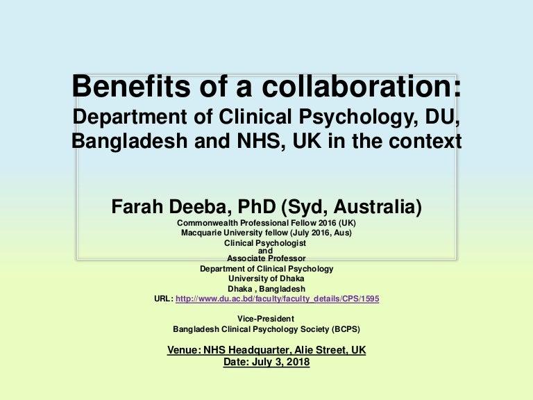 Farah Deeba's presentation at NHS, UK, 2018