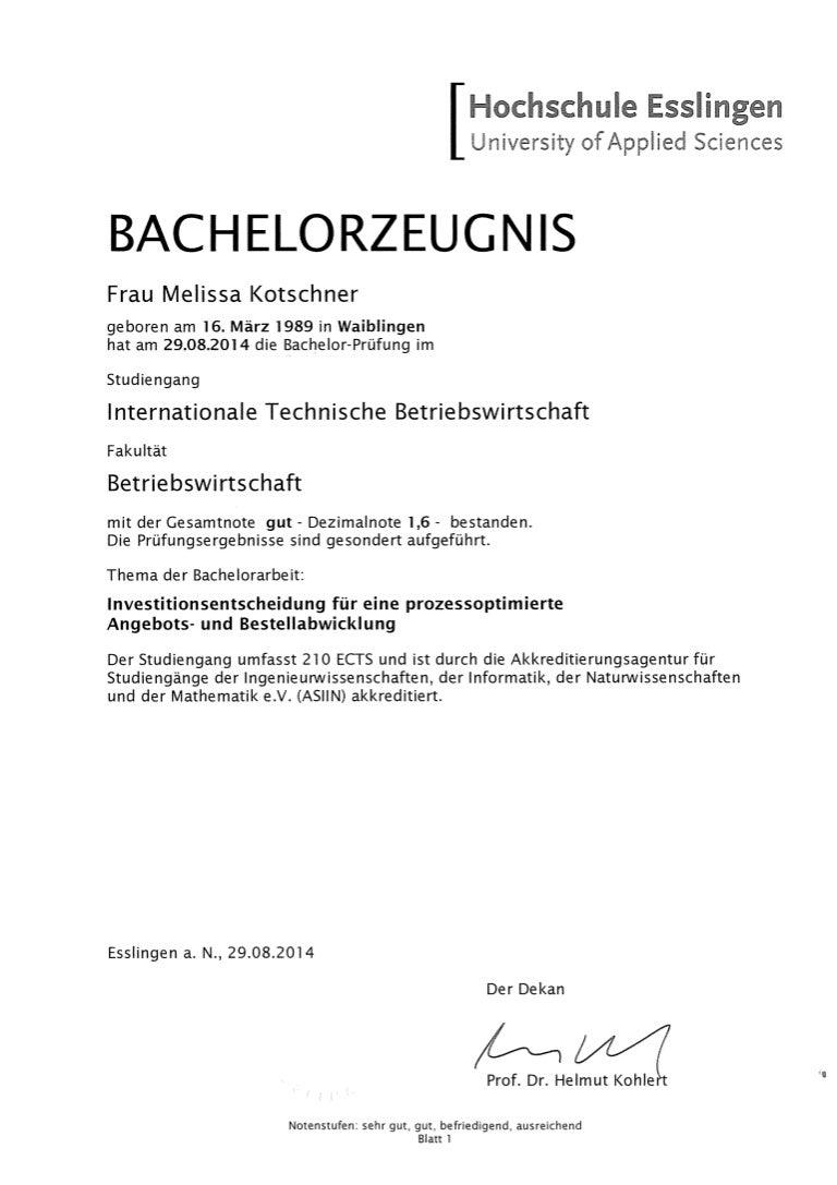 Bachelor Abschluss Noten