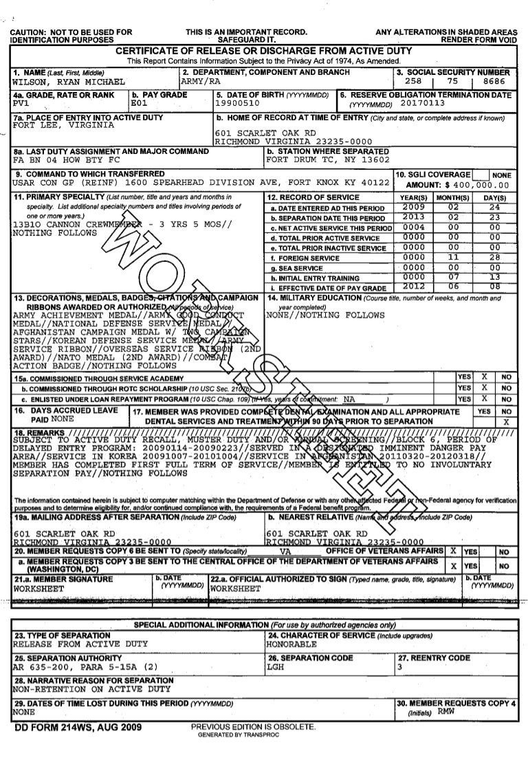 Uncategorized Dd 214 Worksheet wilson ryan dd214