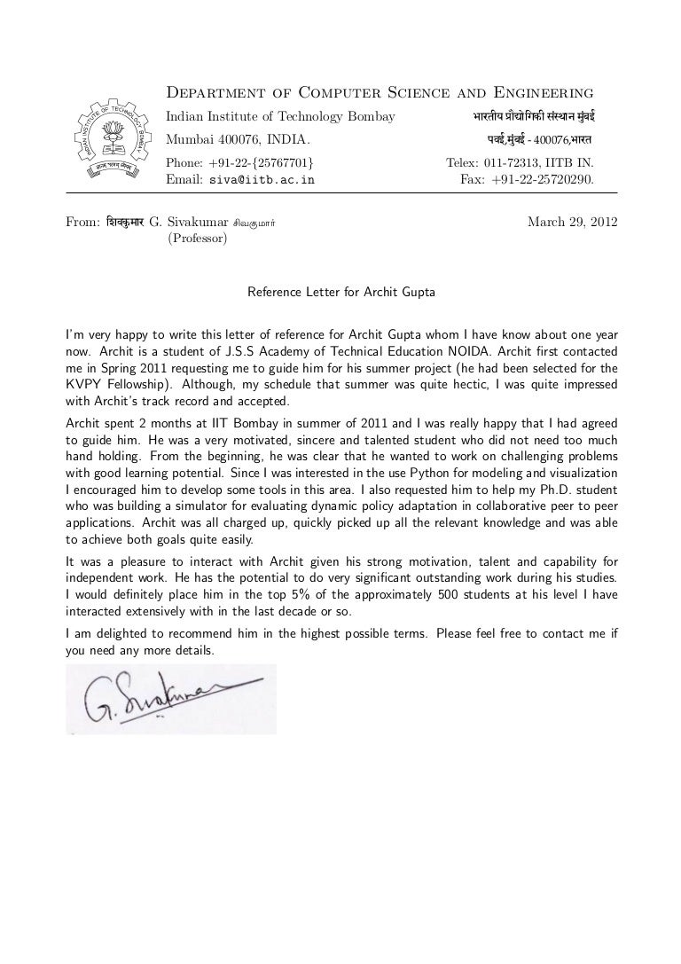 Recommendation letter prof g sivakumar hod cfdvs iit bombay mitanshu Images