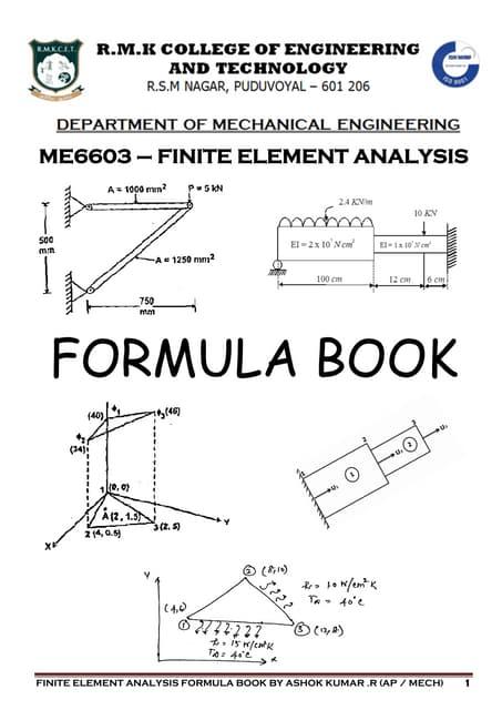 ME6603 - FINITE ELEMENT ANALYSIS FORMULA BOOK