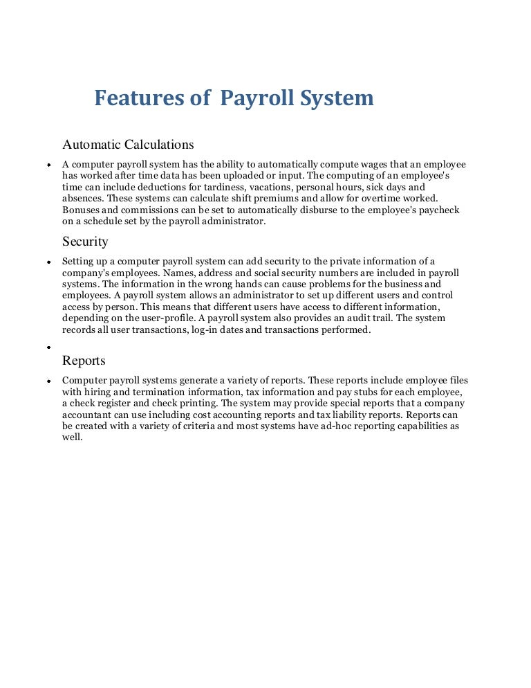 Foreign thesis payroll system