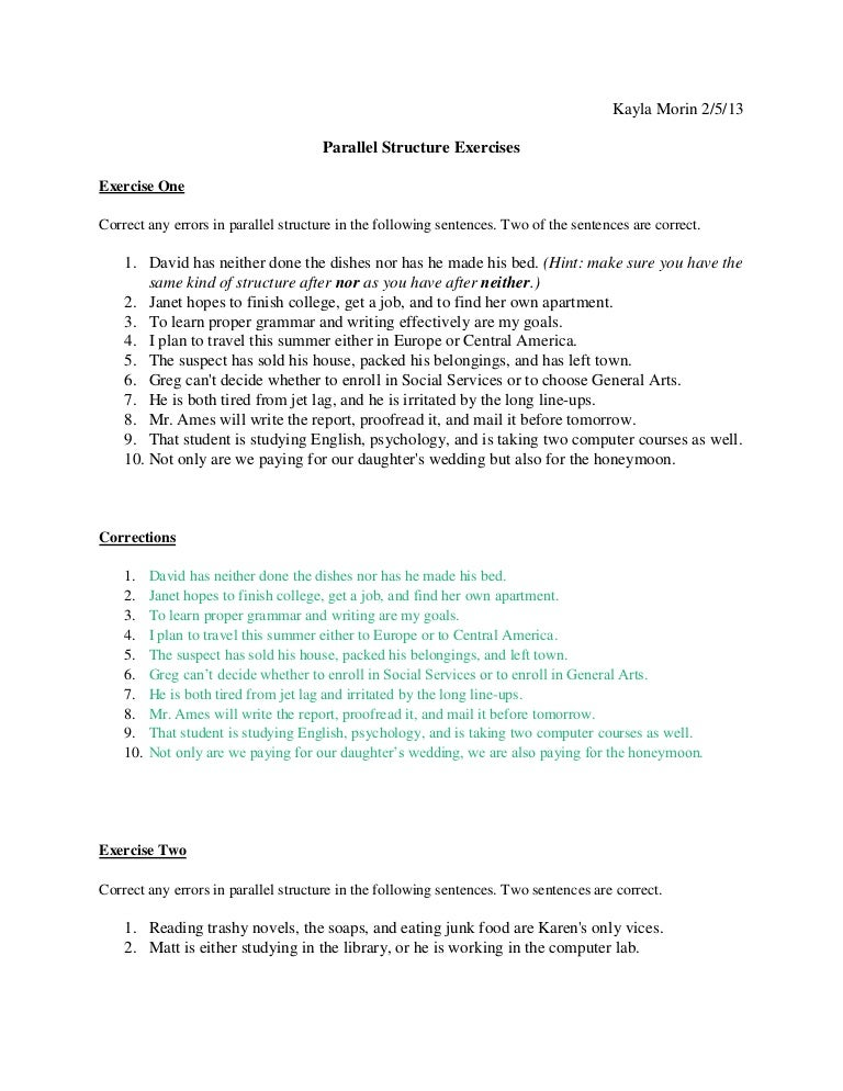 Feb 5 english parallel structure excercises