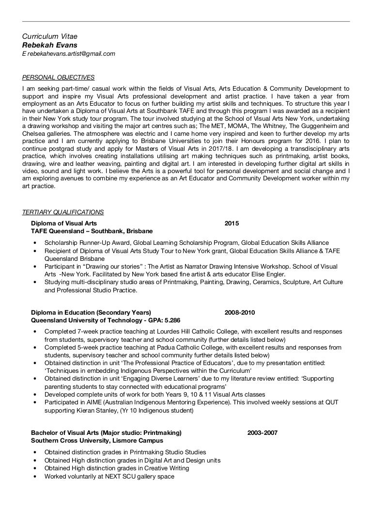 Employment CV Rebekah Evans 2015