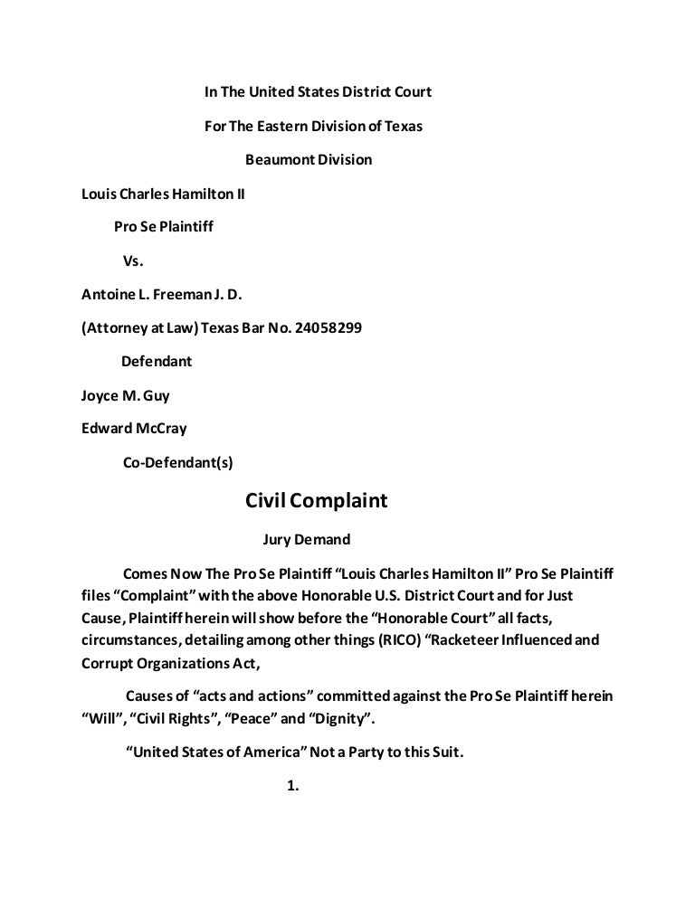 Rico) Federal Complaint Defendant(S) Antoine L. Freeman J. D. (Attor…