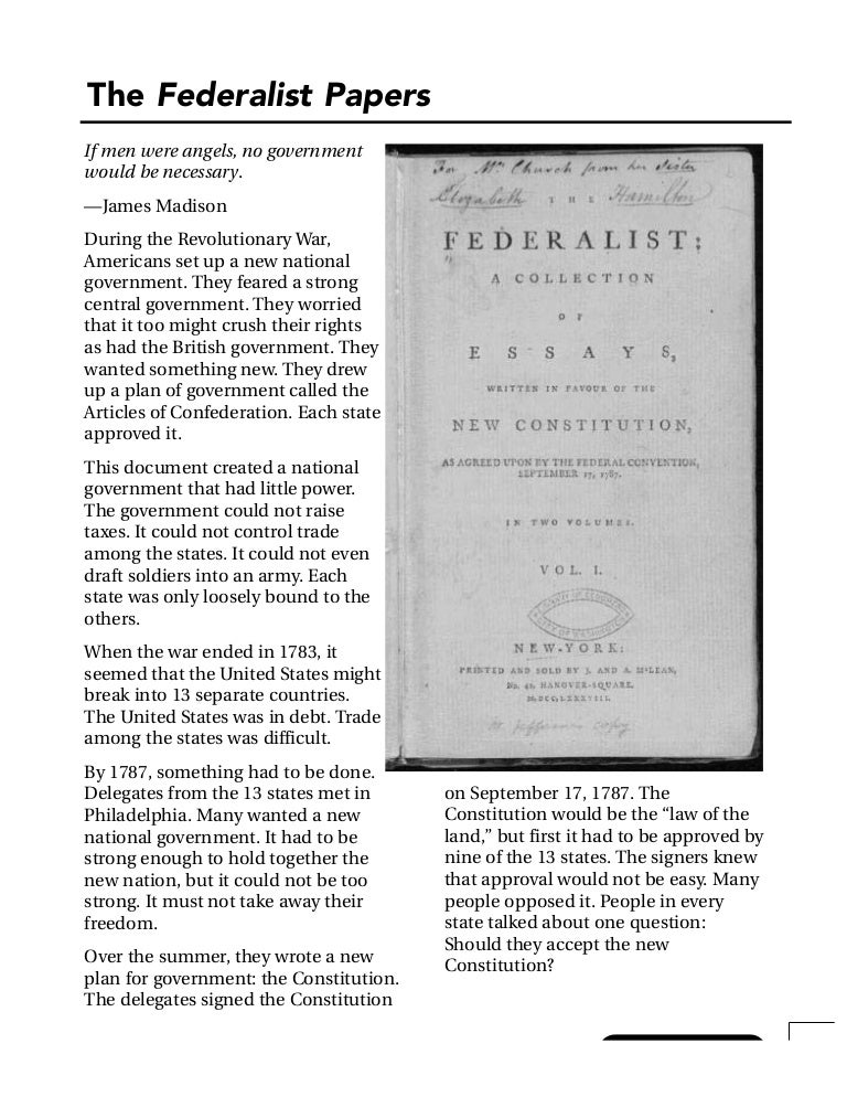 the federalist was written to silence constitutions critics The federalist papers are a series of 85 essays written in 1787 and 1788 to promote the ratification of the united states constitution i found it to be the posting them here without editing is easier that trying to write a review: federalist no 84 opposition to the bill of rights since the bill of rights is.