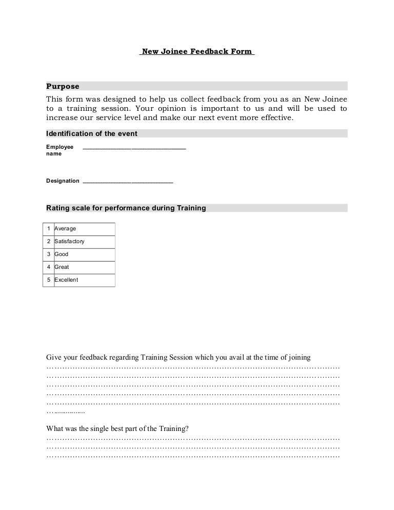 Feedback form – Training Session Feedback Form