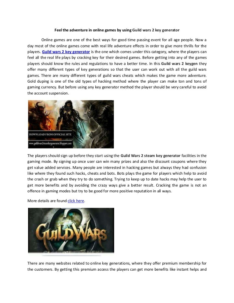 Feel the adventure in online games by using Guild wars 2 key