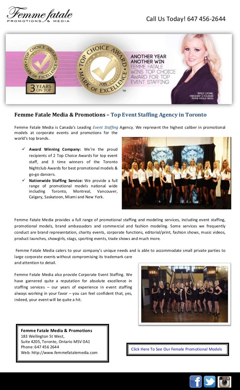 femme fatale media promotions top event staffing agency in toronto