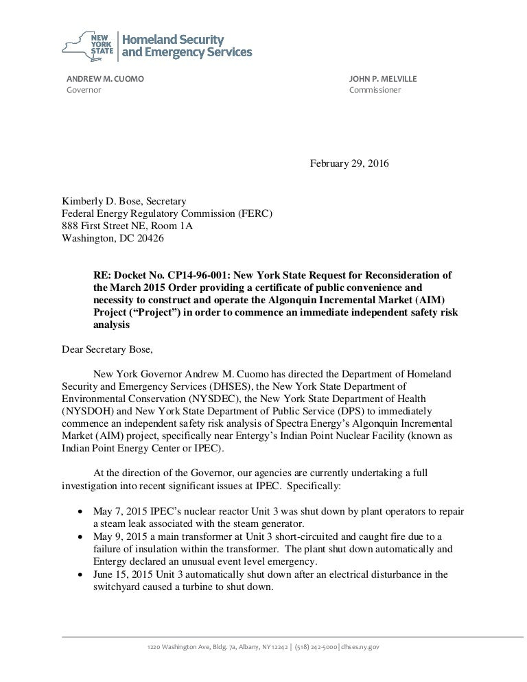 Letter from ny gov andrew cuomo asking ferc to stop construction of spiritdancerdesigns Choice Image