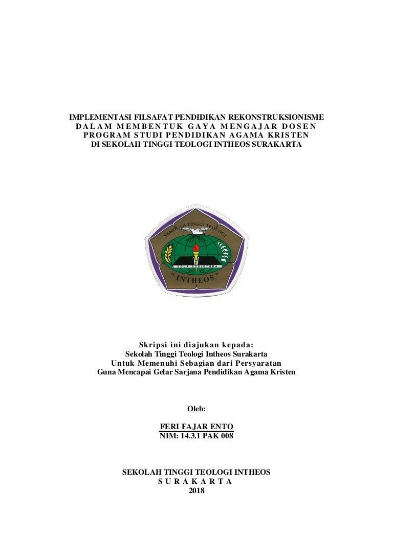 Implementasi Filsafat Pendidikan Rekonstruksionisme Dalam Membentuk G