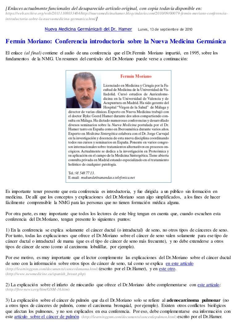 Aclaraciones A La Conferencia Introductoria 1995 De Fermín Moriano