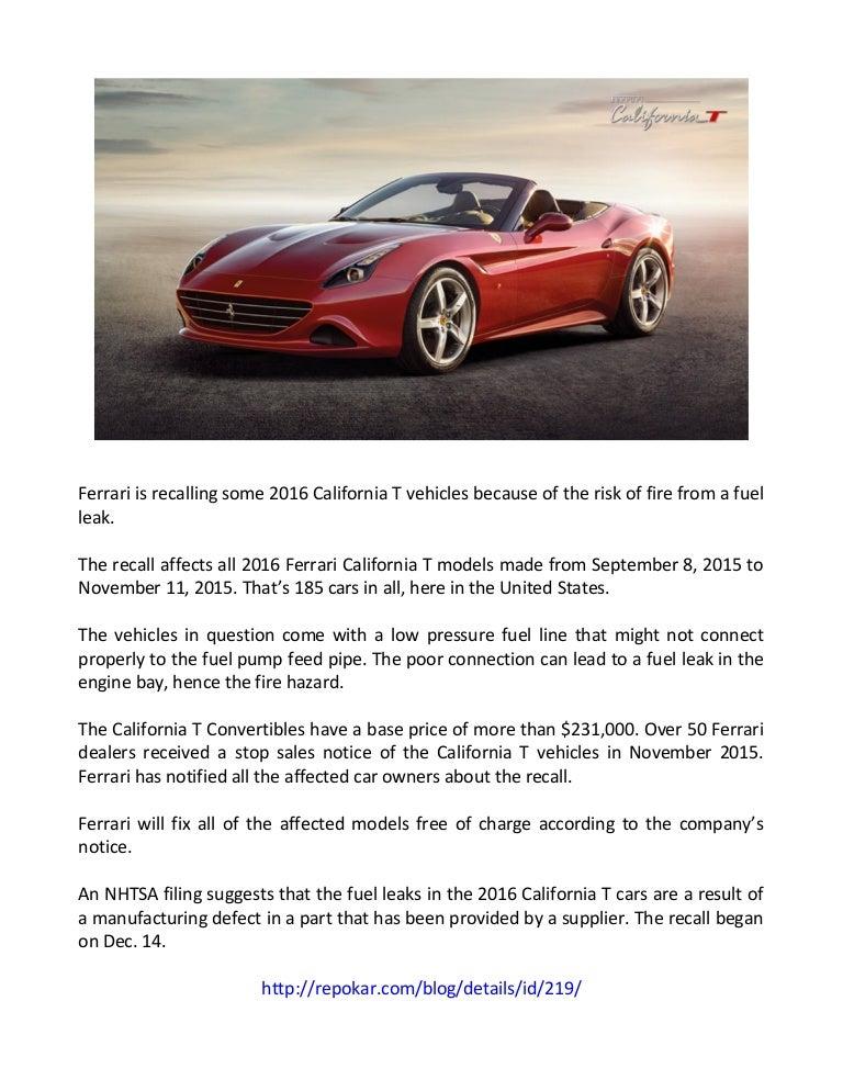 Ferrari Recalls 2016 California T Convertibles For Fire Risk