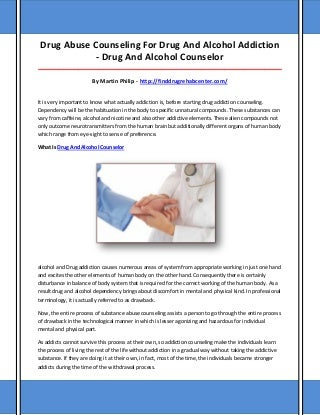 Drug and alcohol counselor