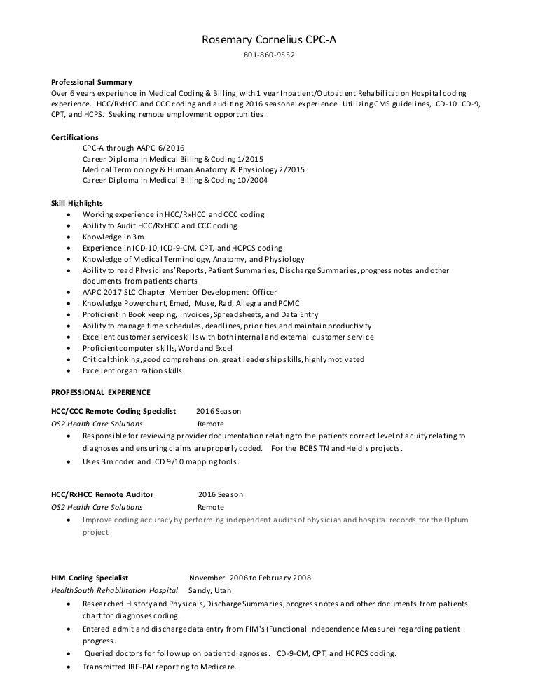 Rosemary Cornelius Medical Coding Resume