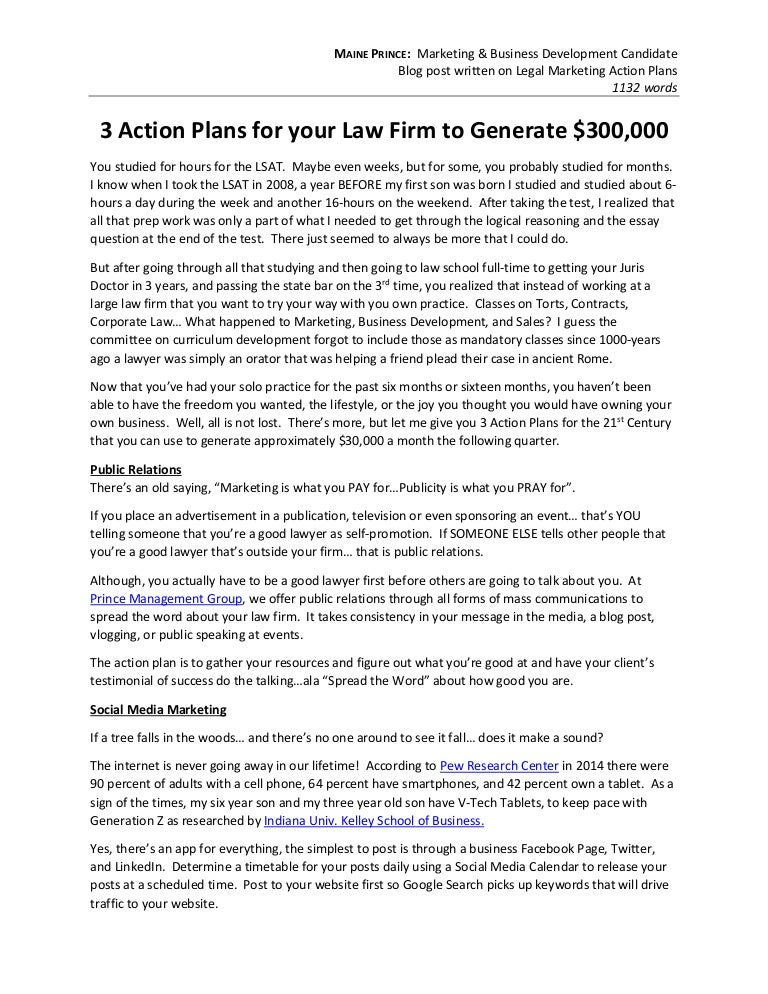 Writing Sample - Attorney Action Plans