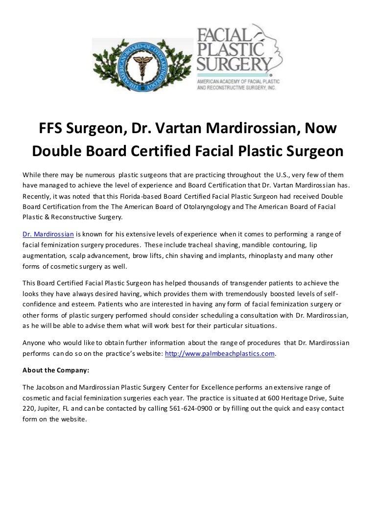 Ffs surgeon dr vartan mardirossian now double board certified faci 1betcityfo Images