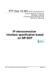 IP interconnexion : interface specification based on SIP/SDP (v2.1) - Nouvelle version
