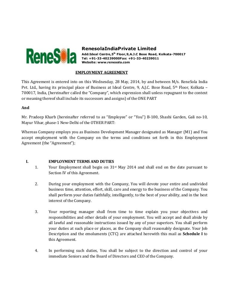 RENESOLA INDIA Employment agreement – Casual Employment Agreement