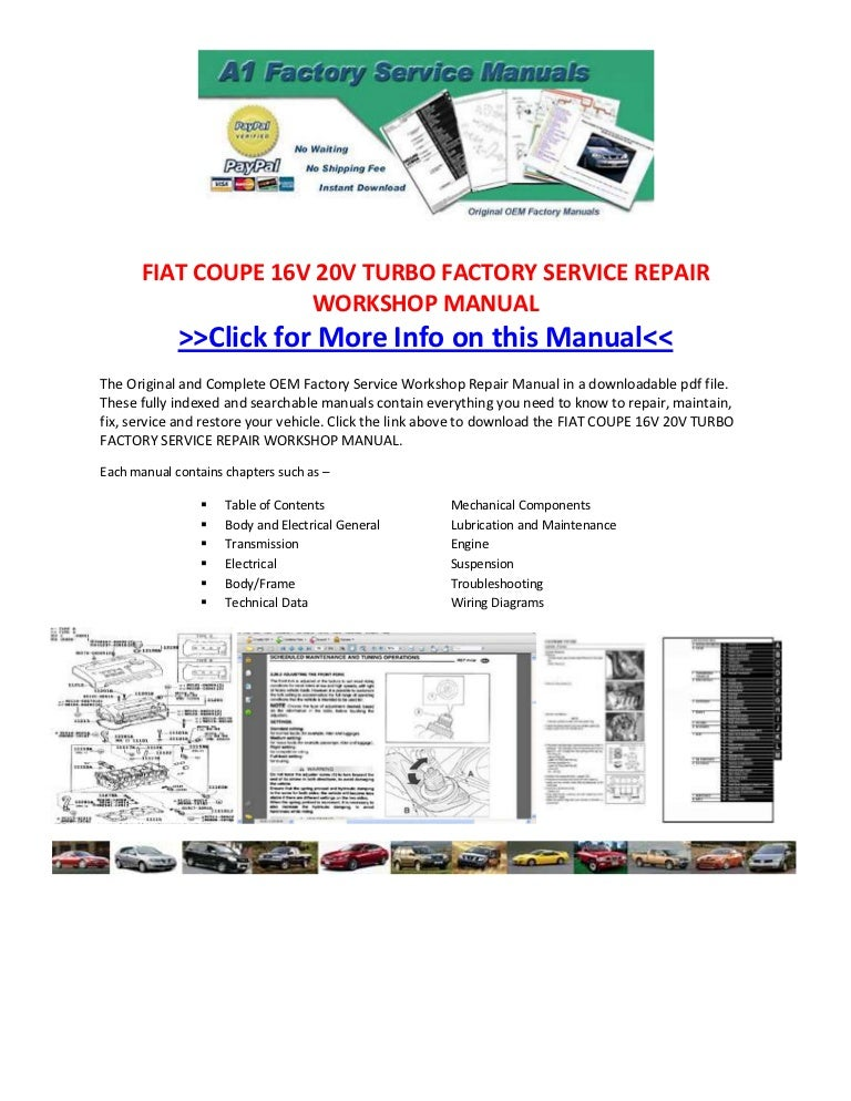 Fiat coupe 16 v 20v turbo factory service repair workshop manualSlideShare
