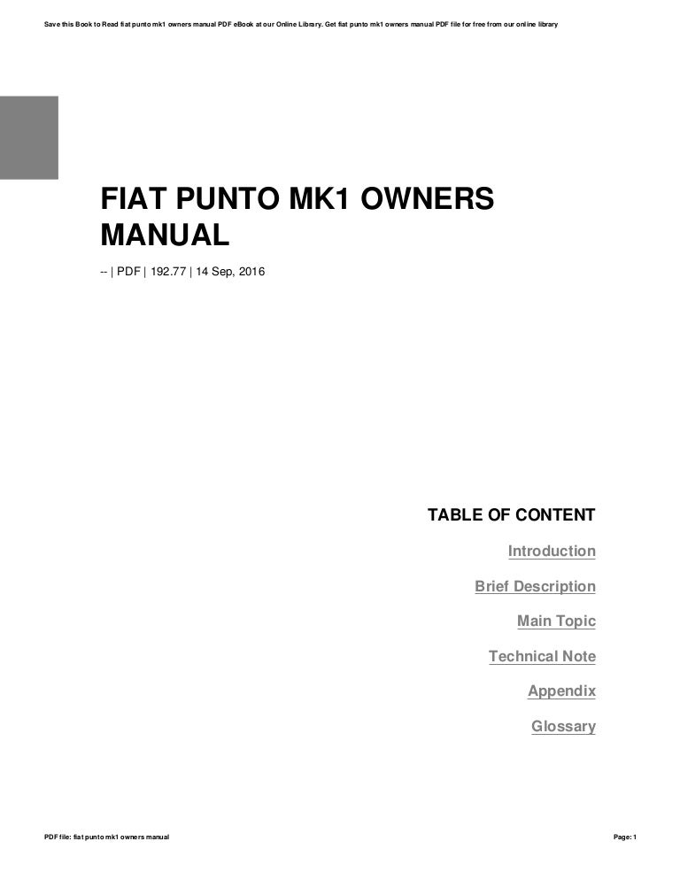 Fiat punto mk1 owners manual