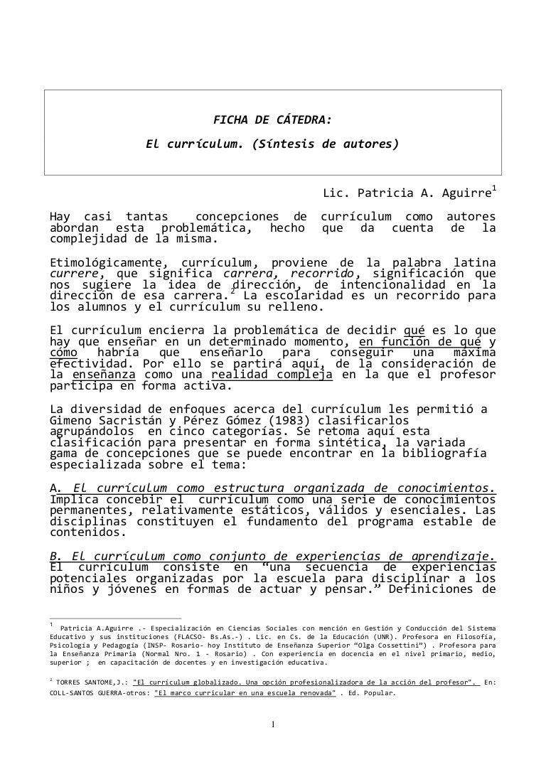 Ficha de cátedra el currículum patricia a.aguirre
