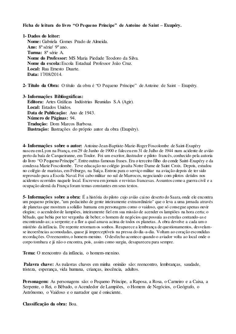 """Ficha de leitura do livro """"O Pequeno Príncipe"""" de Antoine"""