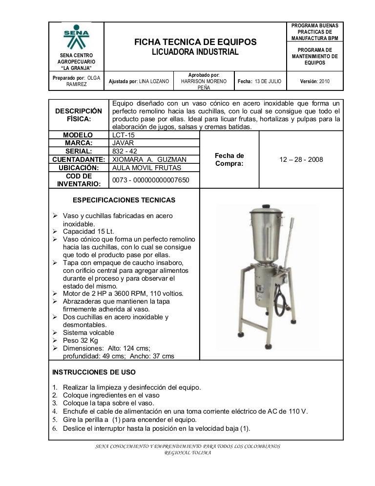 Licuadora industrial for Manual de cocina industrial