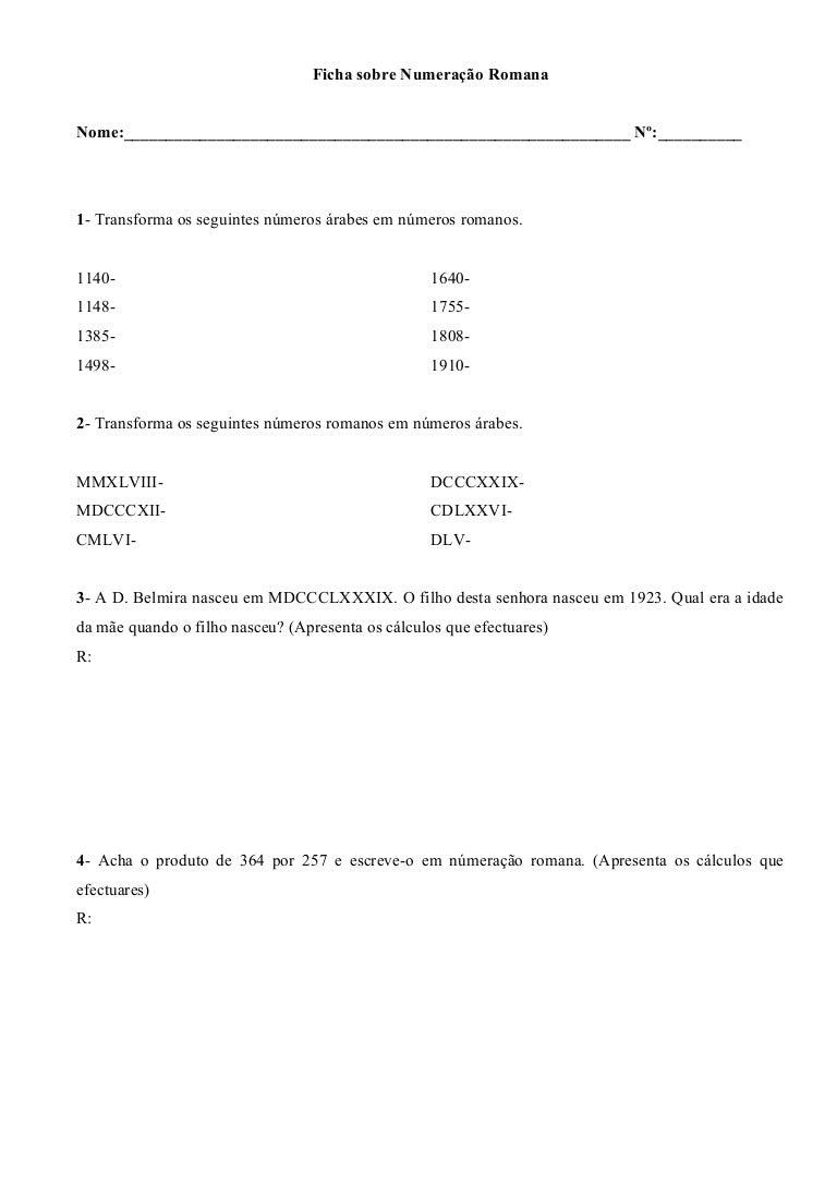 Data Em Numeros Romanos ficha numeracao romana