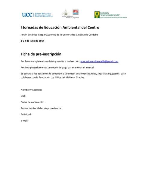 Ficha pre inscripcion. jornadas de educación ambiental del centro