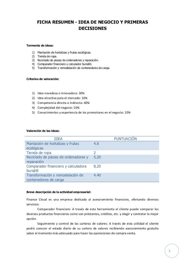 FICHA RESUMEN 1 - IDEA DE NEGOCIO Y PRIMERAS DECISIONES