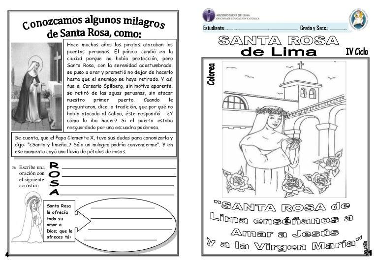 FICHA SANTA ROSA DE LIMA 3º Y 4º GRADO PRIMARIA