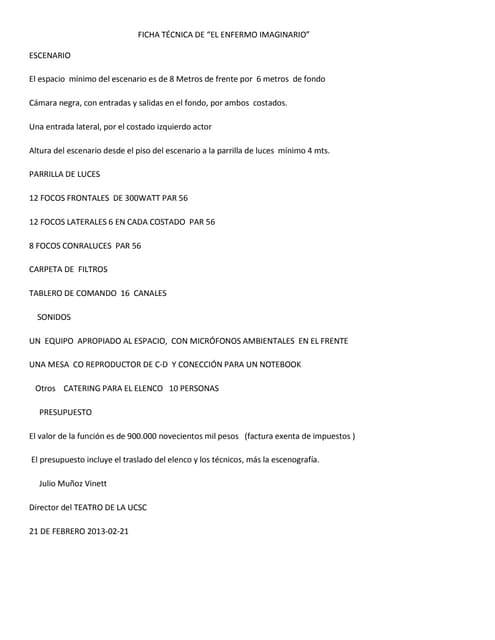 """Ficha técnica de """"El Enfermo Imaginario"""" de Moliere"""