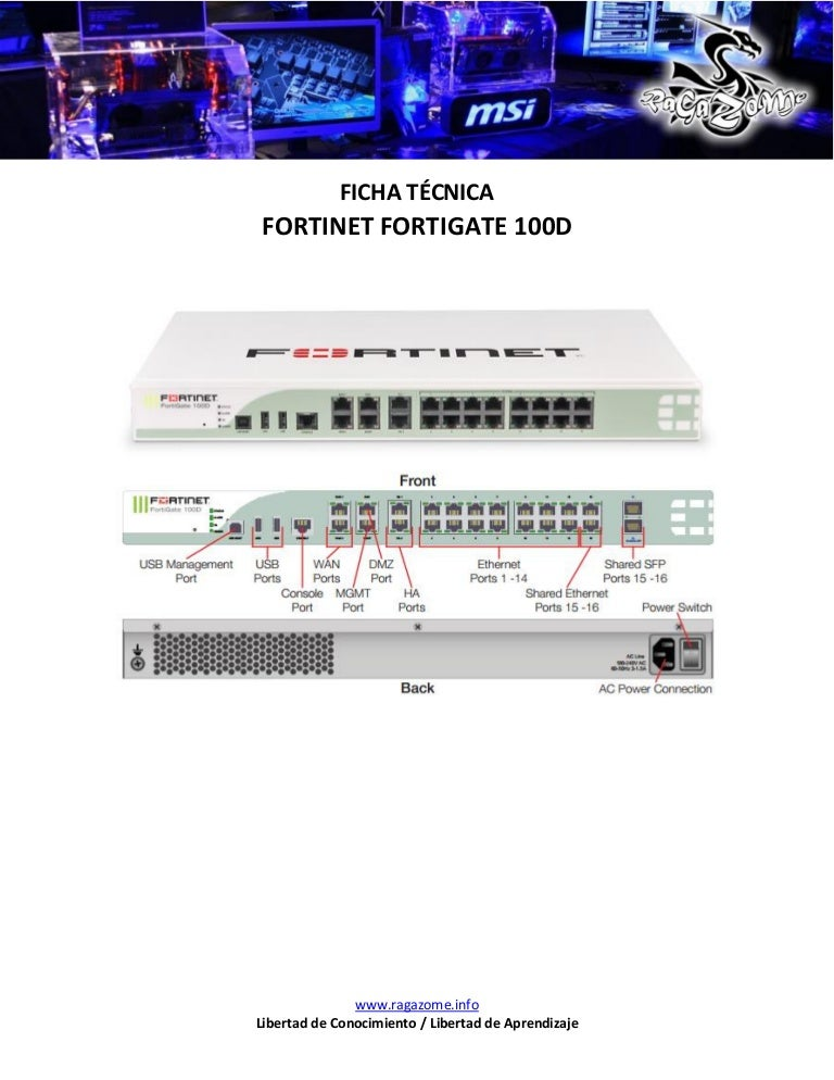 Ficha Tecnica Fortinet FortiGate 100D