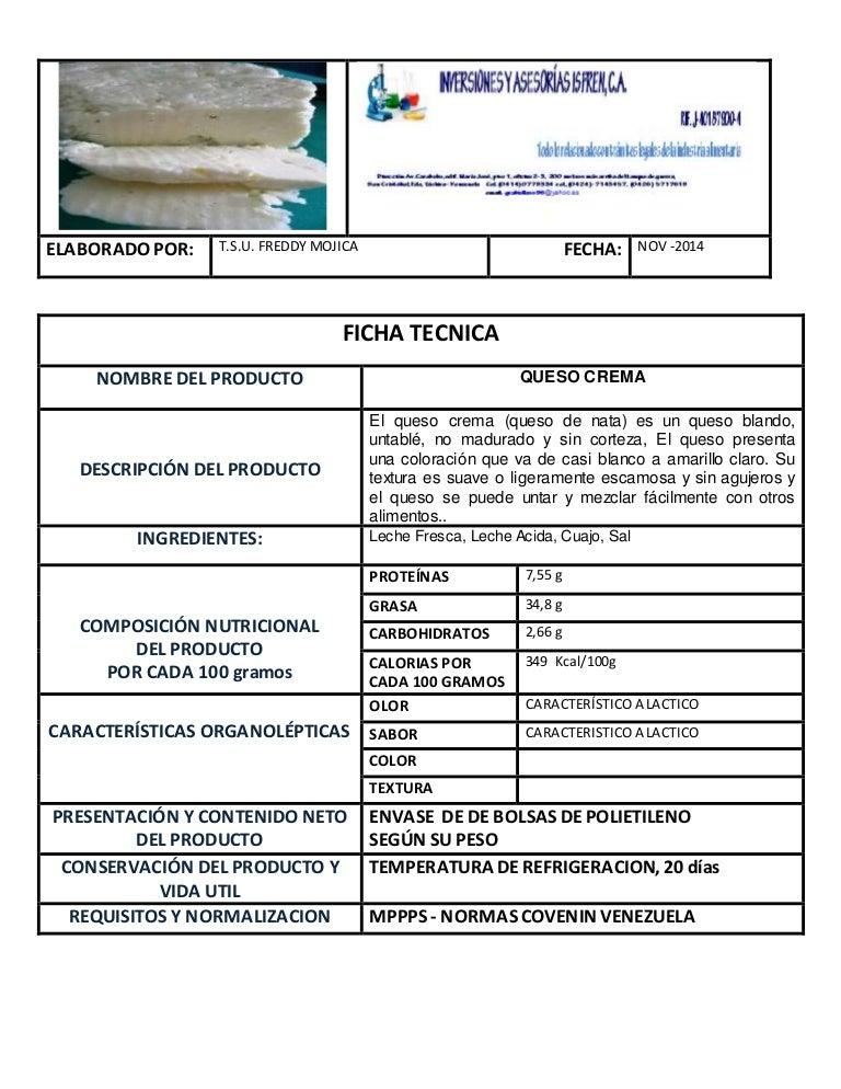 Ficha tecnica queso crema for Ficha tecnica silestone