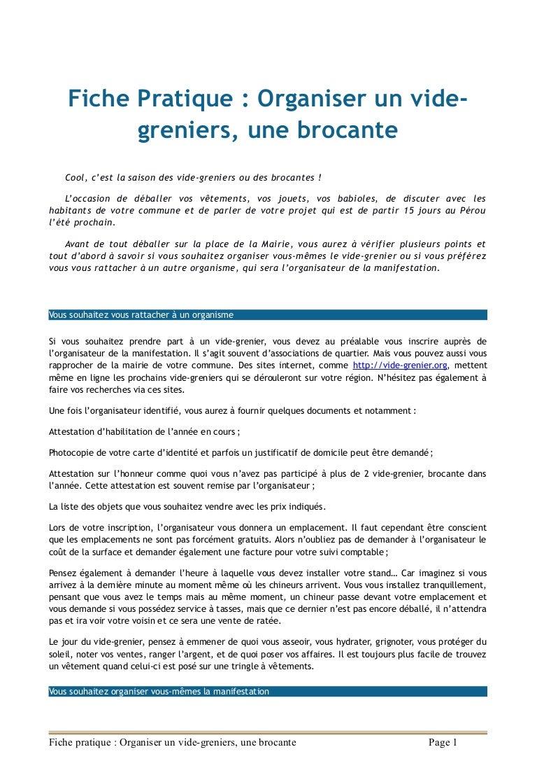Organiser Un Vide Grenier : fiche pratique organiser un vide grenier une brocante ~ Voncanada.com Idées de Décoration