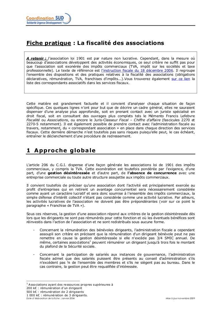 Fiche Pratique Fiscalite Generale Des Associations