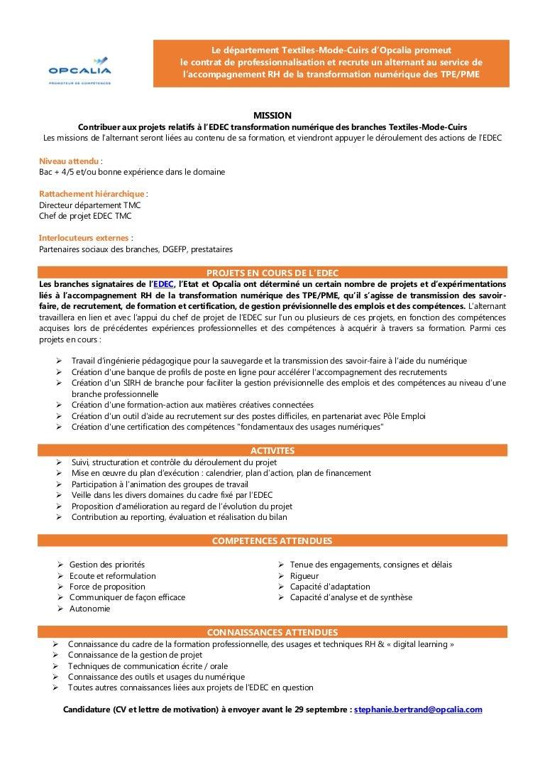 Offre De Contrat De Professionnalisation 1 An
