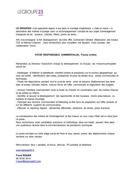 Fiche De Poste Responsable Commercial