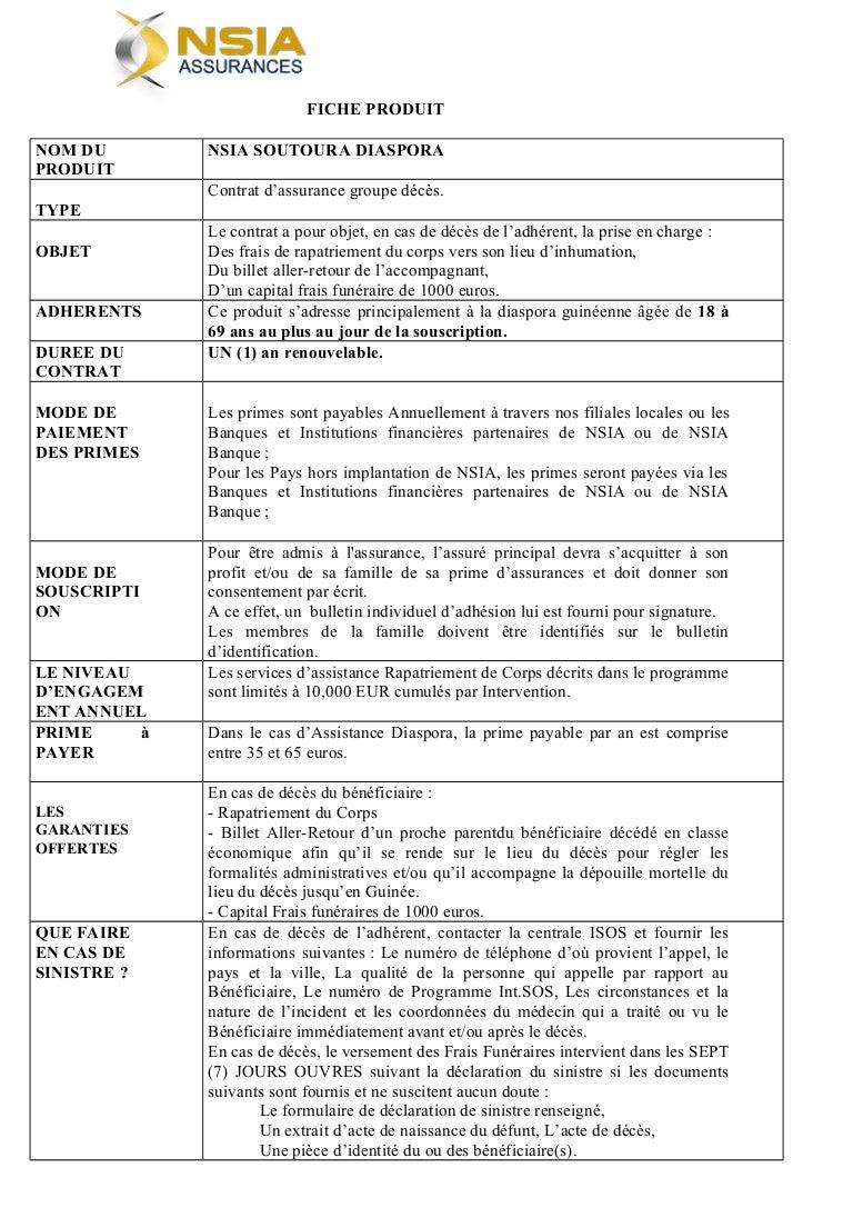 Guinee Nsia Les Details De La Prise En Charge En Cas De Deces