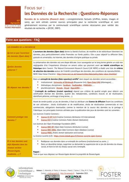 Fiche pratique IST Agropolis : Les Données de la Recherche : Questions-Réponses
