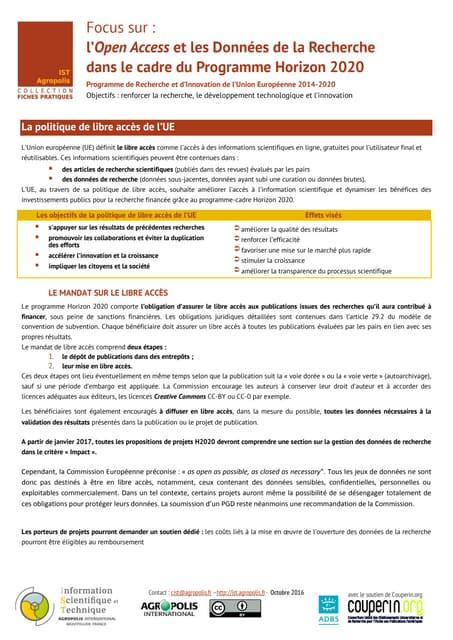 L'Open Access et les Données de la Recherche dans le cadre du Programme Horizon 2020 - fiche pratique IST Agropolis